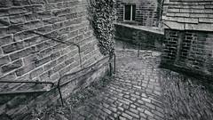 Back streets, Holmfirth 2016(3) (S.R.Murphy) Tags: old greatbritain england blackandwhite bw monochrome unitedkingdom yorkshire cobbles holmfirth urbanlandscape cobbledstreet canon1740mm cobbledpath canon6d feb2016