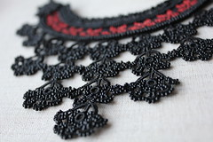 Statement necklace with black embroidered base and black beaded crocheted flower lace by irregularexpressions (irregular expressions) Tags: necklace embroidery jewelry fiberart beaded beadednecklace crochetflower beadedflower crochetnecklace blacknecklace crochetlace beadedcrochet textilejewelry lacenecklace embroiderednecklace statementnecklace fibernecklace beadworknecklace embroiderynecklace blacklacenecklace blackneckpiece blackfibernecklace