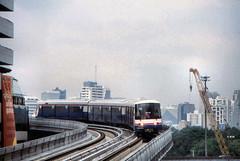 Thailand - Bangkok - Skytrain trial run (railasia) Tags: thailand bangkok siemens infra nineties testrun silom bts thirdrail emu3 silomline elevatedstructure routenº2