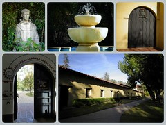Mission San Fernando Rey de Espaa. (2) (France-) Tags: usa statue collage losangeles porte sanfernando fontaine californie spanishmission etatsunis