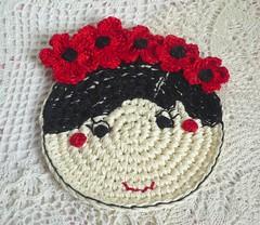 poppy flower girl crochet coaster (MonikaDesign) Tags: crochet stitching homedecor tabledecor poppyflower kitchendecor crochetart crochetcoaster handmadecoasters poppydoll crochetpoppycoaster