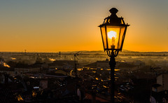 sunrise in the street lamp (lucafabbricesena) Tags: street morning light italy lamp yellow misty sunrise dawn nikon horizon antennas emiliaromagna d800 santarcangelo