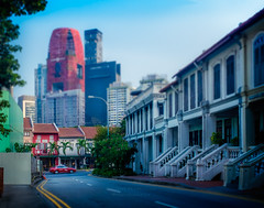 Old and New (StuMcMillan) Tags: street city trip travel trees houses outside singapore chinatown fuji view district april tiltshift 2016 stuartmcmillan x100s wwwstuartmcmillanphotographycom