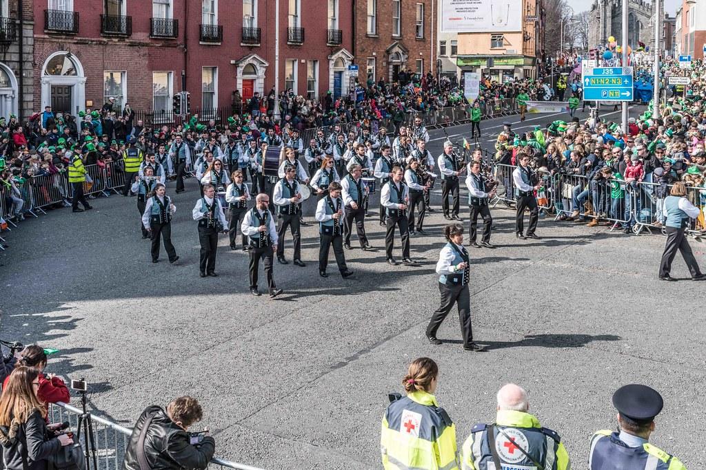 Bagad de Vannes Melinerion Brittany [St. Patrick's Parade In Dublin 2016]-112386