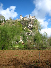 rocky castle (Ladybadtiming) Tags: sky france castle field rock clouds countryside spring earth lot rocky sunny dirt tress belcastel