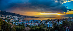 The Storm Over Jounieh, Lebanon (Paul Saad) Tags: sunset sea sky lebanon storm beach colors clouds colours pano panoramic beirut hdr adma harissa jounieh