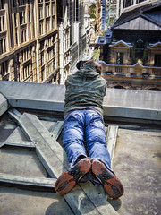 Laying down on the Job. (TOXTETH L8) Tags: streets tv sydney officebuildings newsouthwales pittstreet shoppingcentres sydneycentralbusinessdistrict commercialscanons90