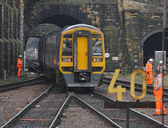 Sheffield South Yorkshire 13th April 2016 (loose_grip_99) Tags: uk railroad bridge england station train way workers diesel south sheffield yorkshire rail railway tunnel staff transportation april multiple express 40 midland permanent unit sprinter 2016 hivis dmu brel class158 158860