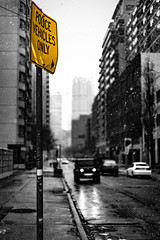 Police Vehicles Only (Benson Chan Photography) Tags: urban snow signs toronto canada yellow canon 50mm downtown full frame stm ef 6d selectivecolour focuspoint