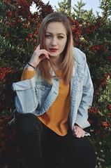 portrait- (Giorgia Cinelli) Tags: street portrait urban sun flower nature girl beauty spring blueeyes style jeans blond ritratto portraitgirl portraitworld