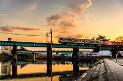 MEITETSU at sunset (derek7464) Tags: sunset japan  aichi hdr meitetsu  okazakicastle  sigma1770mm  okazakipark nikond7000