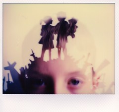 Fading everything to black and blue you look a lot like you'd shatter in the blink of an eye. (ruthstorey) Tags: polaroid doubleexposure imagepro polaroidweek roidweek impossibleproject snapitseeit