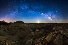 Desert Nocturna (Matt Payne Photography) Tags: panorama moon newmexico night stars nightscape april hoodoo wilderness crescentmoon milkyway bistibadlands denazinwilderness