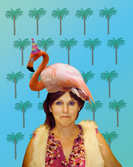 Flamingos Everywhere (Gwen Deanne) Tags: birthday flamingos card joyce topaz cs3 slidersunday