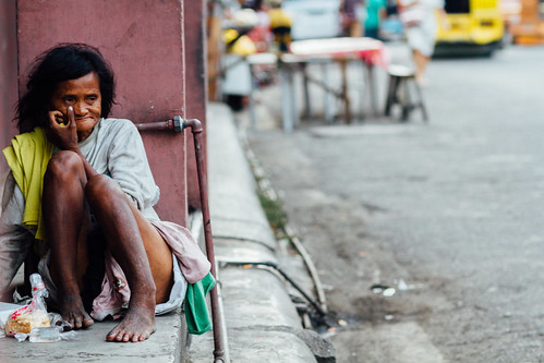 Homeless, Disabled Woman, Cebu City, Philippines