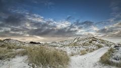 No. 1039 Råbjerg dunes winter sunrise (H-L-Andersen) Tags: winter sky snow clouds sunrise denmark dunes sunrays råbjergmile cloudscapes manfrotto 6d råbjerg landoflight canoneos6d hlandersen