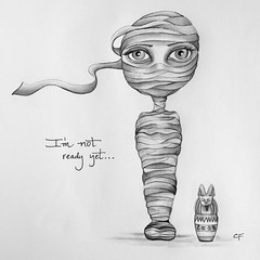 Mummy Girl (Enchanted Fields) Tags: halloween urn costume buried surrealism tomb egypt egyptian sarcophagus mummy magical graphite enchanted linedrawing whimsical pencildrawing inkart wrappedup