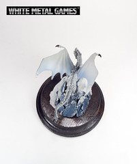 White Dragon (whitemetalgames.com) Tags: white painting gold miniatures miniature nc dragon display reaper dragons raleigh service commission pewter plinth diorama