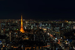 Tokyo at night (basair) Tags: wallpaper japan night dark lights tokyo asia cityscape skyscrapers aerialview illuminated tokyotower odaiba roppongihills moritower