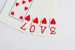 Love on the cards (saish746) Tags: red white playing black photoshop hearts fun cards funny heart experiment poker card fallen spill spade lpred2016