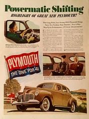 """Plymouth, the One for '41"" (saltycotton) Tags: travel car vintage magazine automobile ad 1940 hats plymouth advertisement 1940s gloves betterhomesgardens"