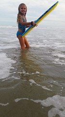 Violet And Her Boogie Board (Joe Shlabotnik) Tags: cameraphone ocean beach florida violet pontevedra boogieboard 2015 micklersbeach justviolet galaxys5 december2015