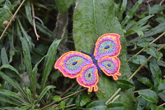 Fabric butterfly on green plant embroidered (dennoir) Tags: plant green butterfly fabric embroidered