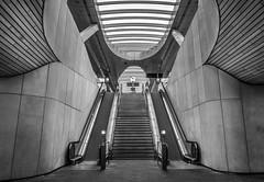 (3)No escalators: Central station in B&W, Arnhem [explored] (Simon van Ooijen) Tags: bw white black netherlands station architecture stairs photography nikon long exposure cityscape angle arnhem escalator central wide nederland sigma zwart wit architectuur centraal gelderland arnheim roltrap sluitertijd ooijen