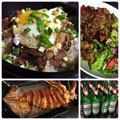 白切羊肉飯, 孜然炒烤羊肉, 魷魚串兒 & 台灣啤酒 (Danburg Murmur) Tags: beer pepper salad rice bottles mosaic cerveza egg taiwan bowl lettuce beercan spices squid lamb seafood bier taipei onion 台灣 greenonions 台北 sesameseeds scallions birra bia bière yolk öl bira ビール cervesa taipeirestaurants sör 台灣啤酒 пиво 啤酒 taiwanbeer בירה 맥주 台啤 serbesa آبجو เบียร์ táiwānpíjǐu táipí 鴻疆石餐廳 ເບຍ 孜然炒烤羊肉 炒羊肉塊 hjs'restaurantbargrill 白切羊肉飯 魷魚串兒