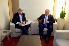 Secretary Kerry Checks Notes Before Meeting With Iraqi Prime Minister al-Abadi Amid World Economic Forum in Switzerland (U.S. Department of State) Tags: switzerland iraq davos johnkerry worldeconomicforum haideralabadi wef2016