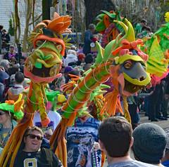 Double the Fun (BKHagar *Kim*) Tags: carnival people colorful neworleans dragons parade celebration nola mardigras walkingkrewe bkhagar kreweoftucksparade dragonsofneworleans