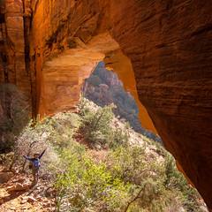 Under the Arch (GlobalGoebel) Tags: bridge red arizona rock canon square rocks arch sedona az canyon powershot squareformat pointandshoot fay s95