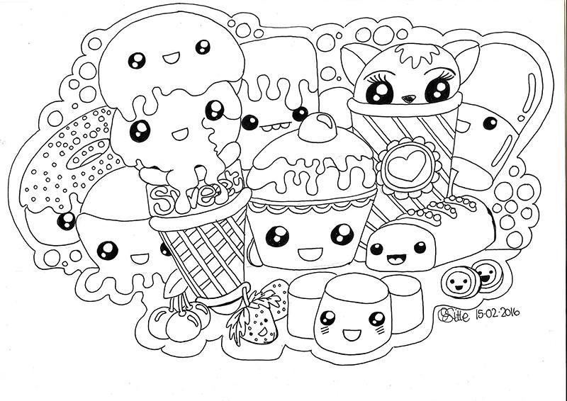 kawaii sweets doodle qski mcgrewski tags art character free line doodle page kawaii - Kawaii Coloring Pages