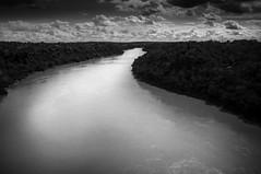 Parana River (hzeta) Tags: bw naturaleza white black blanco nature water rio contrast river landscape flow agua stream y curves negro paisaje bn contraste parana iguazu corriente curvas