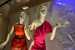 Spring Clothing (dr_marvel) Tags: blue light woman color mannequin window fashion female ruffles store spring clothing hands women texas dress purple head stripes fingers bald houston style plastic waist shoulder tootsies