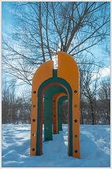 Orange and cyan (ezhikoff) Tags: winter snow tree playground
