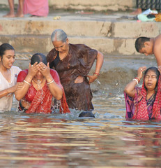 Bathing in the Ganges (LouiseGoggin) Tags: people india river women varanasi bathing ganges