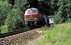 Talmhle  1992  215 003 (w. + h. brutzer) Tags: analog train germany deutschland nikon eisenbahn railway zug trains db locomotive lokomotive 215 diesellok eisenbahnen v160 talmhle dieselloks webru nagoltalbahn