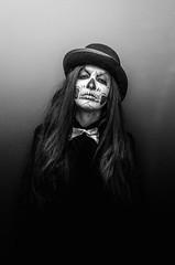 Skully (Johnidis) Tags: portrait bw woman halloween monochrome hat skeleton skull costume scary nikon cosplay bowtie bnw stylish apokries d5100 johnidis