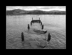 Windermere (March 2016 #1) (Lazlo Woodbine) Tags: uk england blackandwhite bw lake broken water monochrome landscape mono march countryside blackwhite nationalpark pentax britain jetty lakedistrict overcast hills cumbria 1855mm nationaltrust windermere thelakes britishcountryside thelakedistrict 2016 k7 photomatix hdrfromsingleraw luminancehdr
