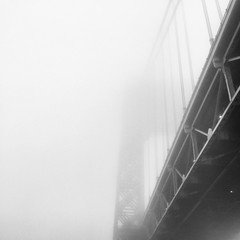 George Washington Bridge through Fog (Gus Cantavero Film & Images) Tags: nyc newyorkcity bridge blackandwhite bw fog square haze hudsonriver fade minimalist