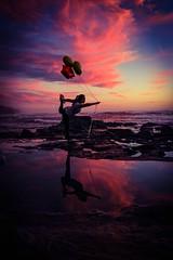 balloon yoga (traycg1) Tags: ocean sunset sky color yoga clouds reflections sandiego balloon sunsetcliffs