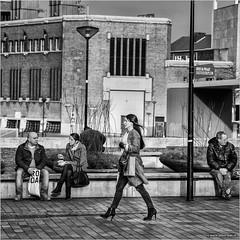 High heels and self-confidence (John Riper) Tags: street people bw woman white black netherlands monochrome lady self canon john square photography mono high rotterdam zwartwit candid stepping heels l confidence 6d 24105 hoogstraat straatfotografie riper johnriper
