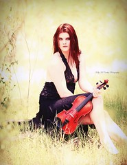 Virtuoso (Kelly McCarthy Photography) Tags: light woman black beautiful beauty fashion yellow pose outdoors golden model bokeh lace style naturallight skirt redhead violin instrument redhair catchycolorsyellow catchycolorsred bokehwhores