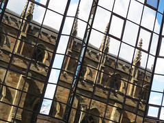 Old in New 1 (S John Davey) Tags: reflection window glass scotland cathedral glasgow standrew