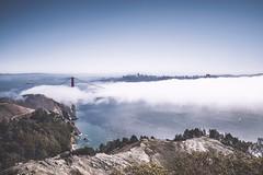 Foggy Golden Gate Bridge (Sarah Yard Photography) Tags: california city travel bridge panorama usa mist west travelling weather fog america landscape golden bay coast gate san francisco nebel view foggy