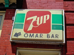 Omar Bar, Bellefonte, PA (Robby Virus) Tags: sign bar soft drink pennsylvania dive alcohol signage booze arrow soda omar 7up bellefonte