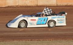 4.16.16 Shawano Speedway / MJ McBride memorial -  son doing final memorial lap (royal_broil) Tags: latemodel checkeredflag racingflag shawanospeedway latemodelracing joereuter mjmcbride mjmcbridememorial