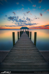 Sunset at Pier Along Waterway Stuart Florida (Captain Kimo) Tags: sunset pier florida stuart martincounty okeechobeewaterway hutchinsonisland hdrphotography captainkimo
