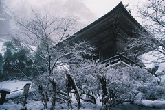 (Jake_Wang) Tags: travel winter snow building film japan canon temple